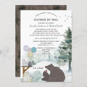 Shower by Mail Forest Woodland Bear Girl Baby Invitation
