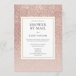 Shower By Mail Long Distance Rose Gold Glitter Invitation