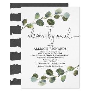 Shower by mail modern eucalyptus baby shower invitation