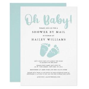 Shower by Mail | Oh Baby Mint Green Baby Feet Invitation