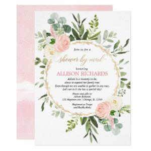 Shower by mail pink gold greenery baby shower invitation