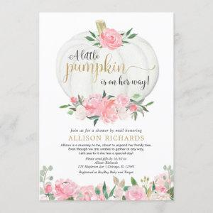 Shower by mail pink gold white pumpkin girl baby invitation