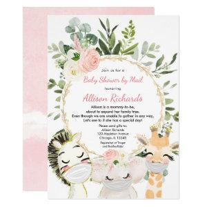 Shower by mail pink greenery gold girl baby shower invitation