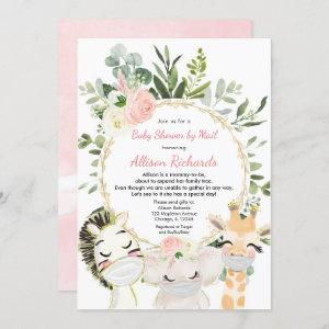 Shower by mail pink greenery gold girl baby shower