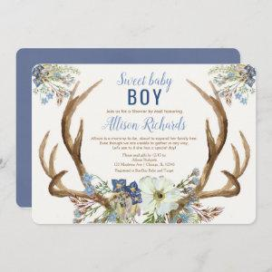 Shower by mail Rustic antlers blue floral boy baby Invitation