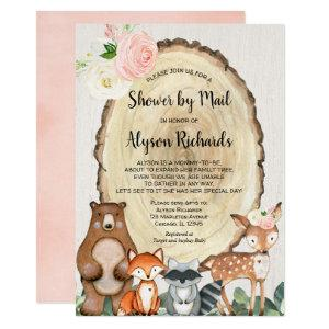 Shower by mail rustic girl woodland baby shower invitation