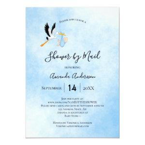 Shower by mail stork baby boy blue sky cute invitation
