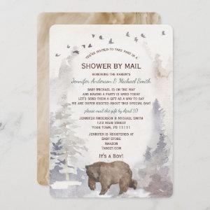 Shower by Mail WatercolorForest Woodland Bear Baby Invitation