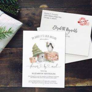 Shower by Mail | Winter Christmas Baby Shower Invitation Postcard