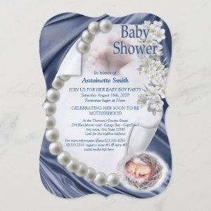 Silky Blue Pearl Baby Shower Invitation
