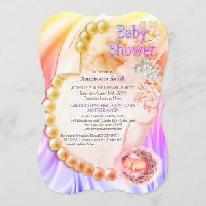 Silky Violet Pearl Baby Shower Invitation