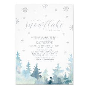 Silver | A Little Snowflake Winter Baby Shower Invitation