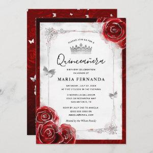 Silver and Red Rose Elegant Quinceanera