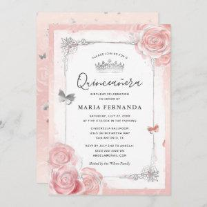 Silver Blush Pink Roses Watercolor Quinceanera
