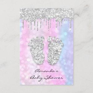 Silver Drips Pink Blue Baby Girl Shower Feet