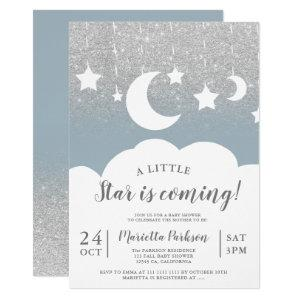 Silver glitter blue star moon cloud baby shower invitation