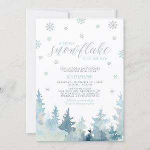 Silver & Mint | Snowflake Winter Boy Baby Shower Invitation