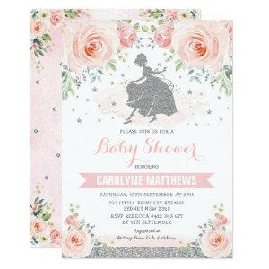 Silver Pink Floral Cinderella Princess Baby Shower Invitation