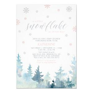 Silver & Pink | Snowflake Winter Baby Shower Invitation