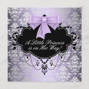 Silver Purple Black Princess Baby Girl Shower Invitation