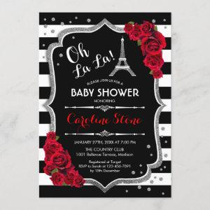 Silver Red Roses French Style Baby Shower Invitation
