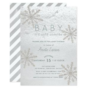 Silver Snowflake Baby Its Cold Outside Baby Shower Invitation