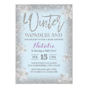 Silver Snowflakes Winter Wonderland Baby Shower Invitation