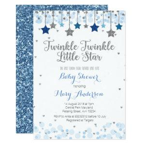 Silver Twinkle Twinkle Little Star Baby Shower Invitation