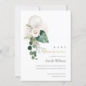 SILVER WHITE BALLOON FLORAL BABY SHOWER INVITE