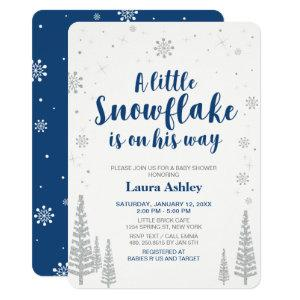 Silver Winter Wonderland, Boy Baby Shower,4.5x6.25 Invitation