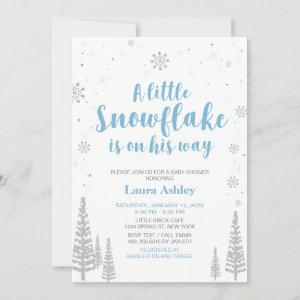 Silver Winter Wonderland, Boy Baby Shower/Sprinkle Invitation