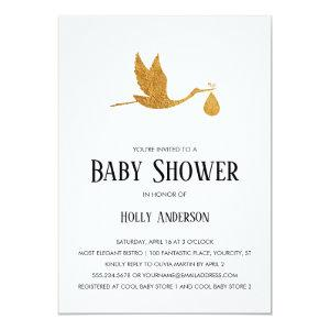 Simple Baby Shower Faux Gold Foil Stork w/ Bundle Invitation