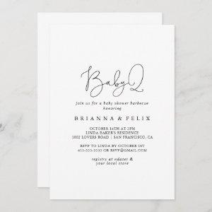 Simple Calligraphy BabyQ Baby Shower Barbecue  Invitation