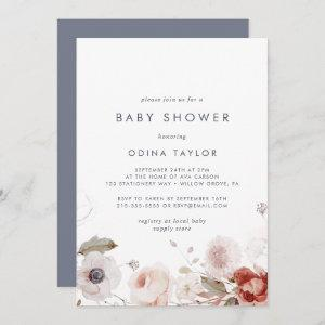 Simple Floral Baby Shower Invitation