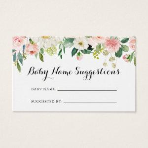Simple Floral Green Baby Name Suggestions Card