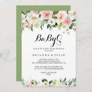 Simple Floral Green BabyQ Baby Shower Barbecue Invitation