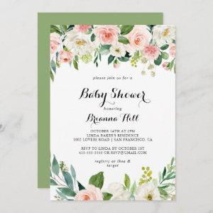 Simple Floral Green Calligraphy Baby Shower Invitation