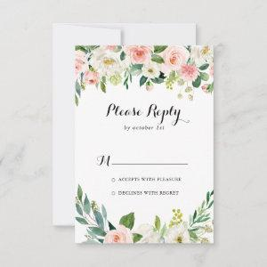 Simple Floral Green Foliage Calligraphy RSVP