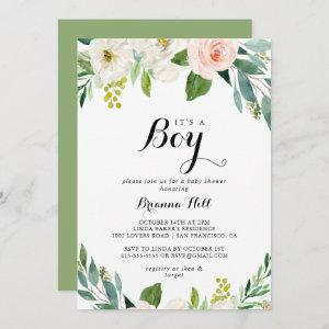 Simple Floral Green It's A Boy Baby Shower Invitation
