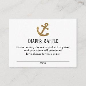 Simple Gold Anchor Diaper Raffle Ticket Cards
