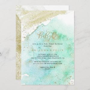 Simple Gold and Green BabyQ Baby Shower Barbecue Invitation