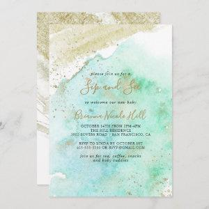 Simple Gold and Green Minimalist Sip and See Invitation