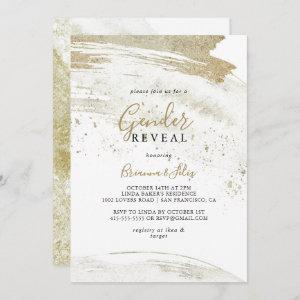 Simple Gold Minimalist Gender Reveal Party Invitation