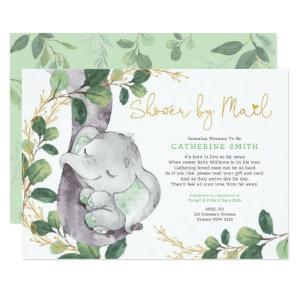 Simple Greenery Gold Elephant Baby Shower By Mail Invitation