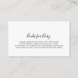 Simple Minimalist Baby Shower Book Request Enclosure Card