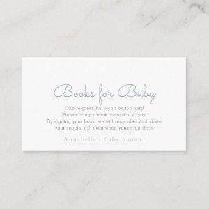 Simple Minimalist Blue Baby Shower Book Request Enclosure Card