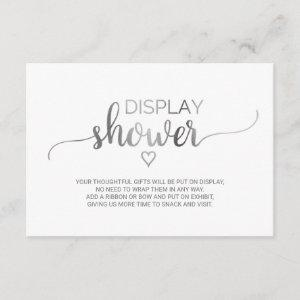 Simple Silver Calligraphy Display Shower Enclosure Card