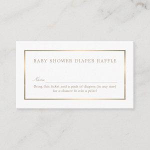 Simple White and Gold, Diaper Raffle Ticket Enclosure Card