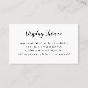 Simple White Display Baby Shower insert card