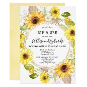 Sip and See Baby girl Sunflower yellow baby shower Invitation